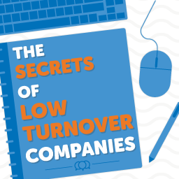 Desk with a notebook with the secrets of low turnover companies