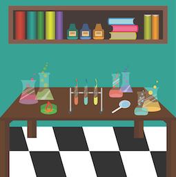 science lab table with chemicals displayed
